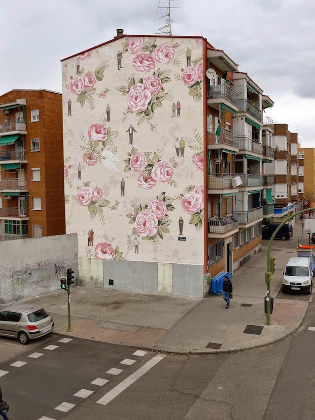 pared floreada en Madrid-el tarro de ideas