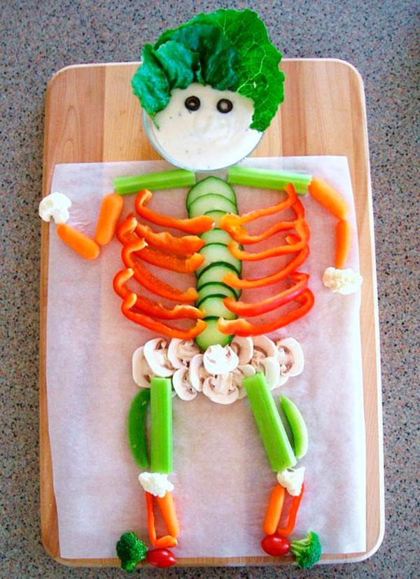 receta cocina creativa ideas presentaron verduras esqueleto halloween comida