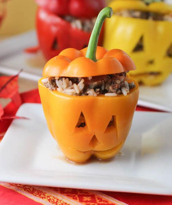 cocina comida receta halloween divertida fácil sana pimientos rellenos