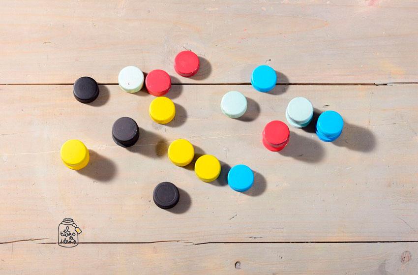 colores, proyecto, reciclar tapones de botellas, reutilizar botella plástica, handmade