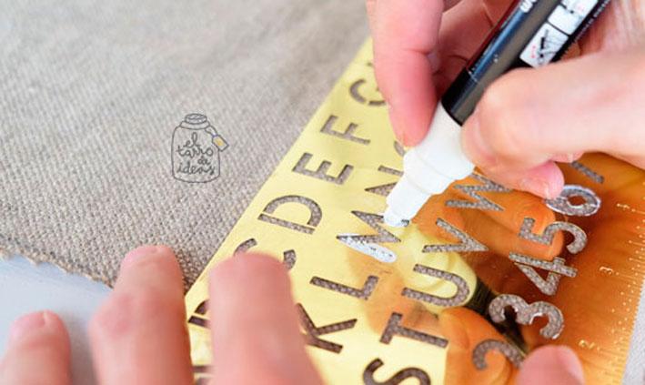 cortina, estor, paso a paso, plantilla de letras, decoracion de tela, tutorial